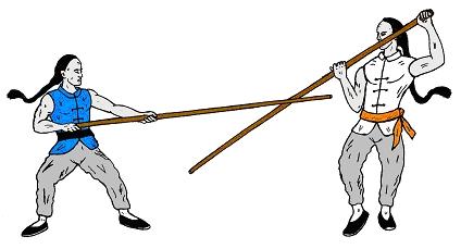 Kämpfer mit Stock