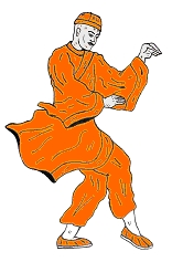 Mönch beim Schattenboxen